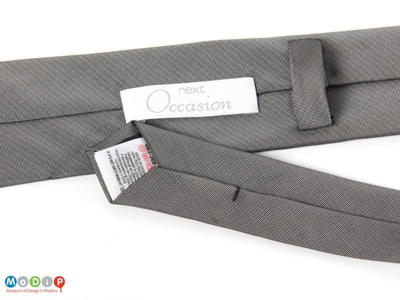 Close view of a tie showing the fabric.