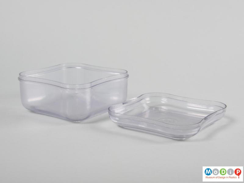 Side view of a storage box showing the lid.