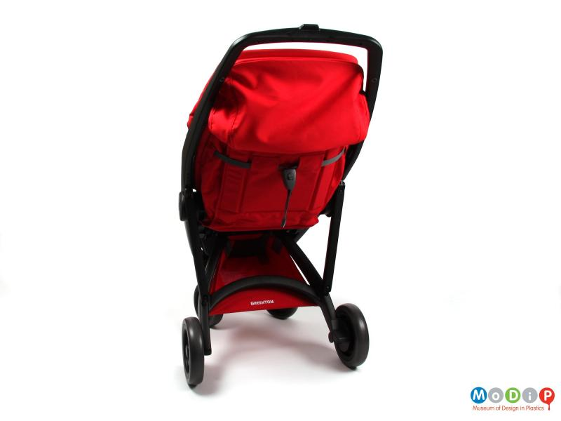 Rear view of a stroller showing the storage underneath.