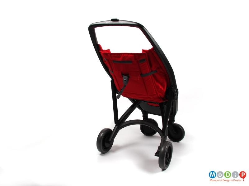 Rear view of a stroller showing the frame.