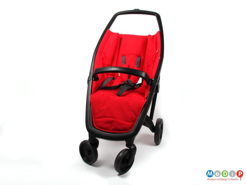 Front view of a stroller showing the frame.