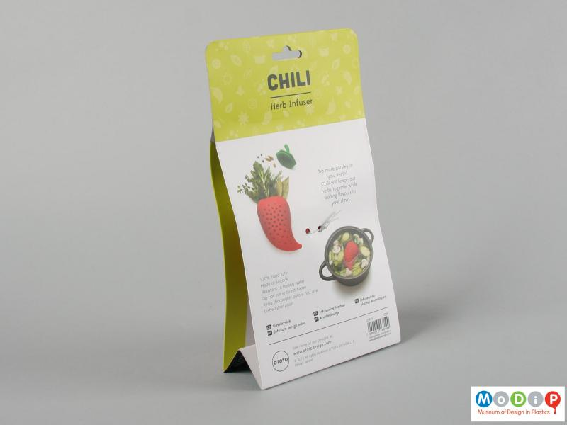 Rear view of a herb infuser showing the packaging.