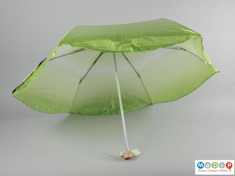 Underside view of an umbrella showing the canopy open.