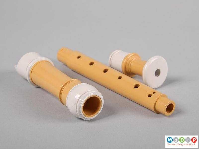 Side view of a recorder showing the three parts.