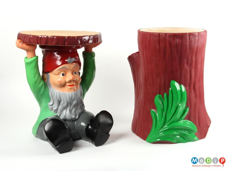 Side view of a stool / table showing it alongside the corresponding gnome stool / table.
