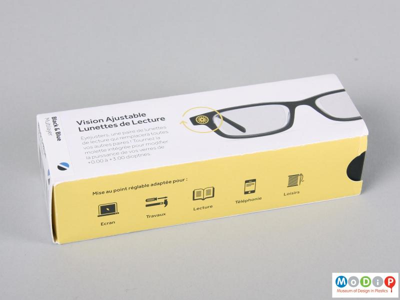 Side view of a pair of glasses showing the packaging.
