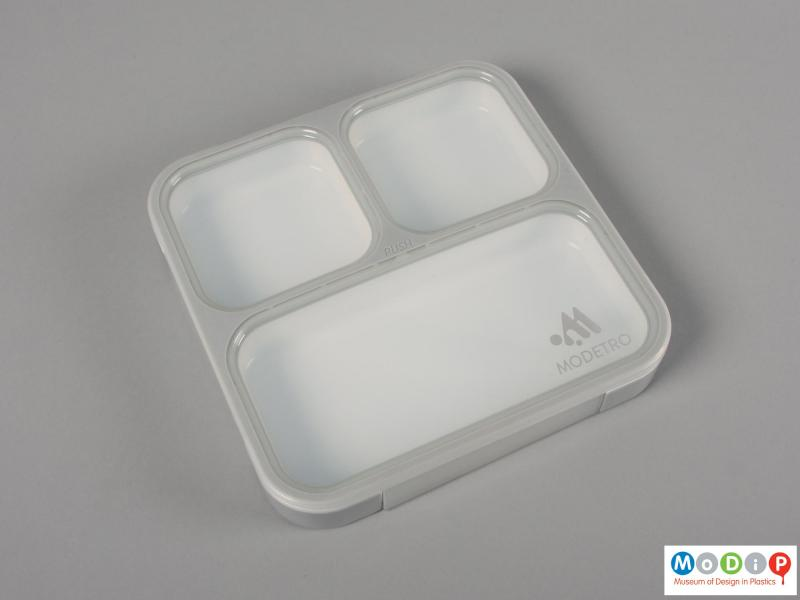 Top view of a lunch box showing the three compartments.