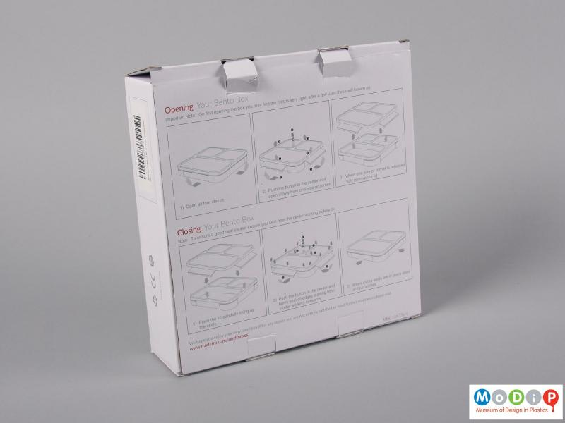 Rear view of a lunch box showing the packaging.