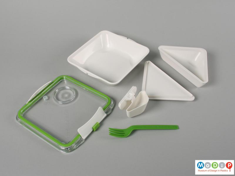 Top view of a lunch box showing the inner surfaces.