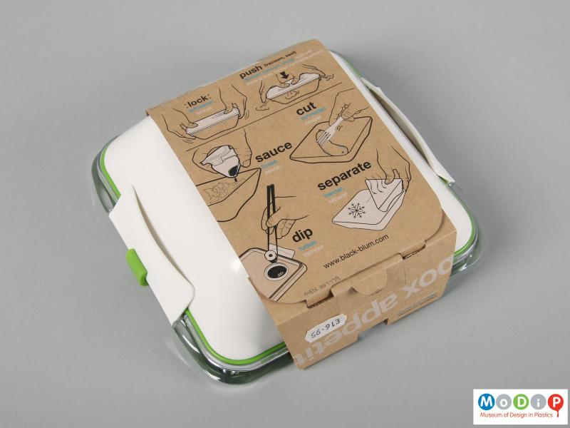 Underside view of a lunch box showing the packaging.