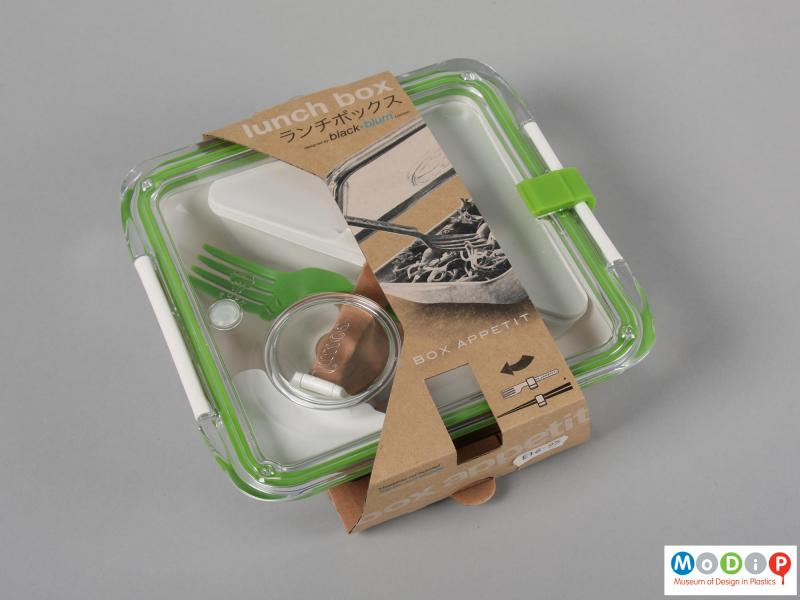Top view of a lunch box showing the packaging.