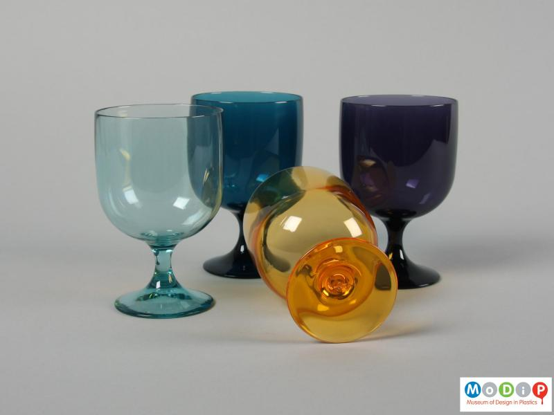 Underside view of a set of four glasses showing the base.