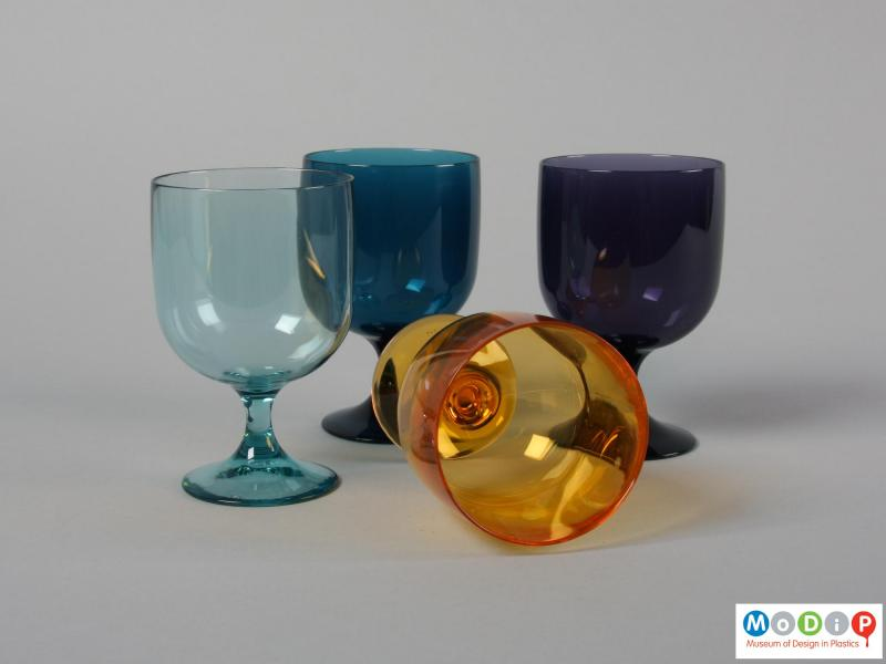 Top view of a set of four glasses showing the thickness of the material.