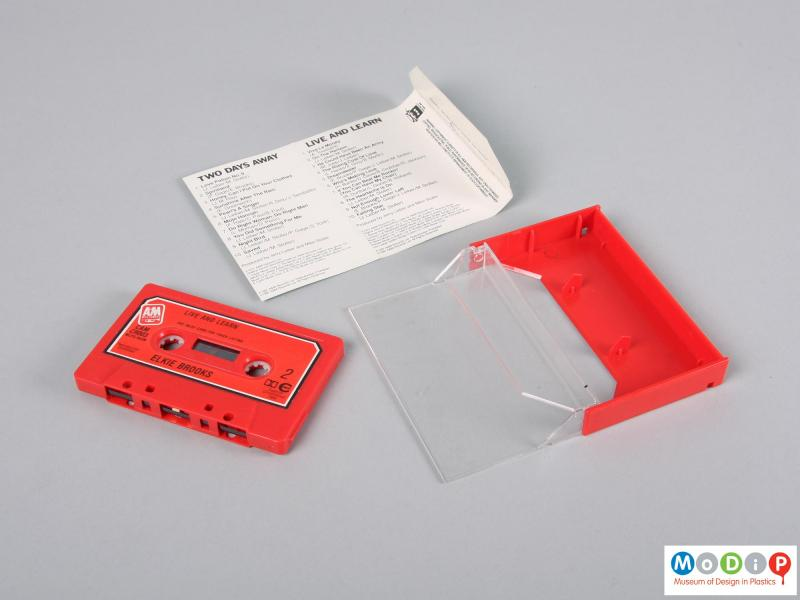 Top view of a cassette tape showing the three components.