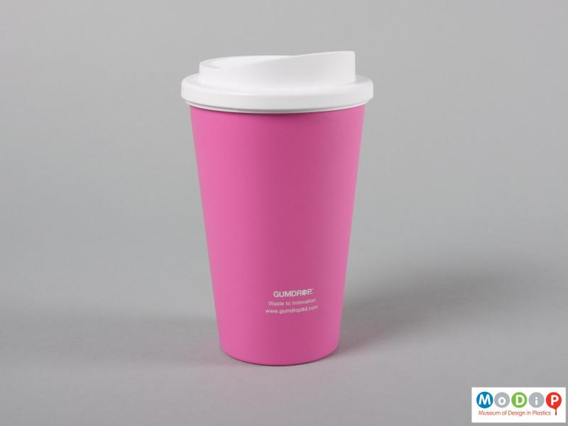 Side view of a cup showing the cover.