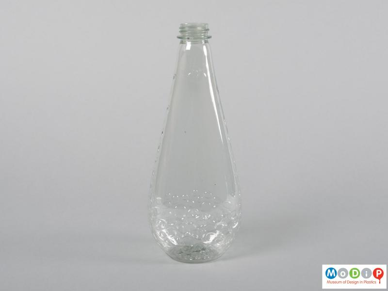 Front view of a bottle showing the teardrop shape.