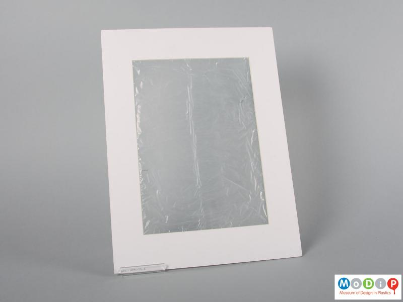 Rear view of a sample of film showing the clear material.