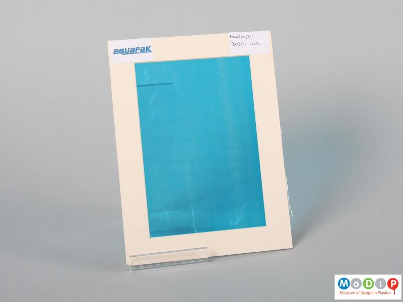 Front view of a sample of film showing the blue material.
