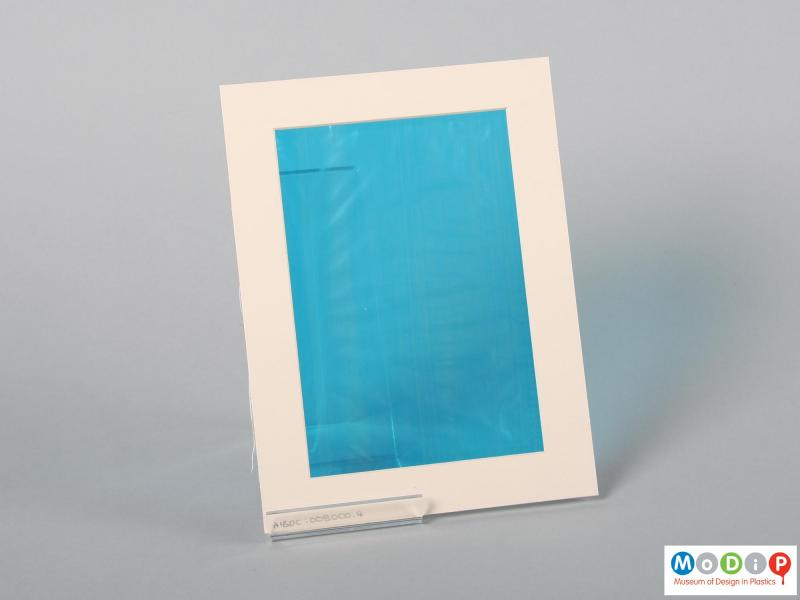 Rear view of a sample of film showing the blue material.