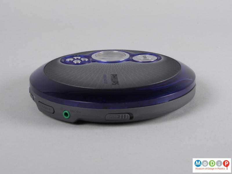 Side view of a CD player showing the two-tone colouring.