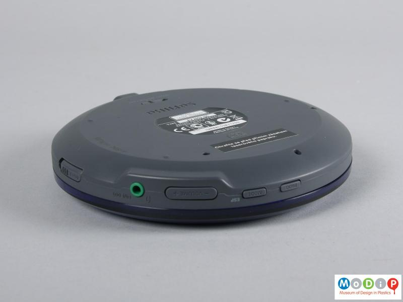 Side view of a CD player showing the control buttons.