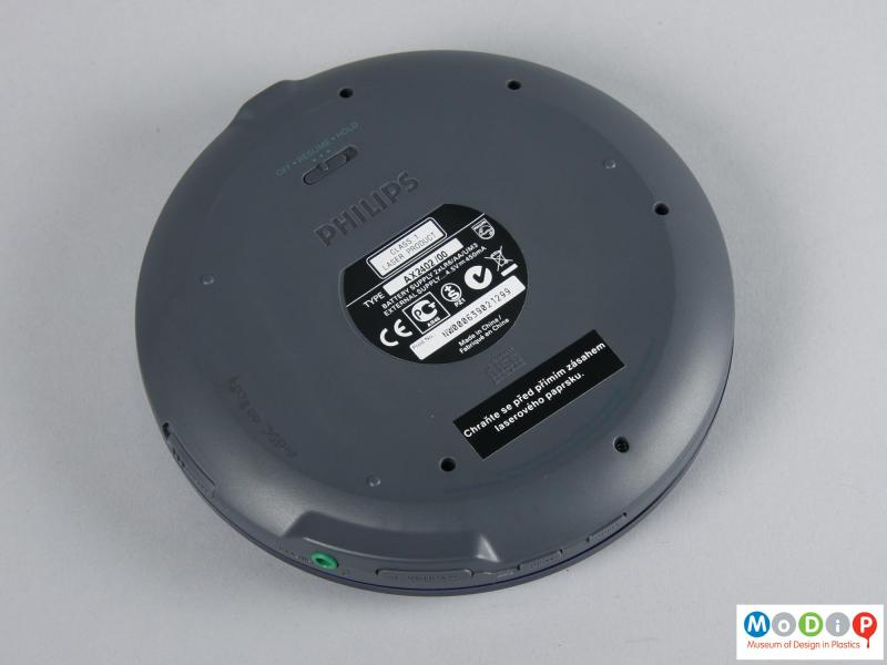 Underside view of a CD player showing the integral feet.
