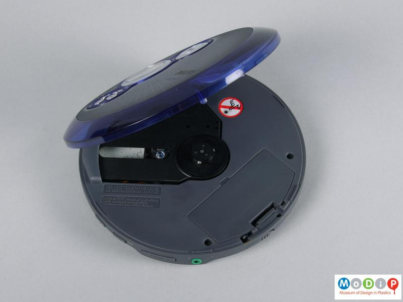 Top view of a CD player showing the playing surface.