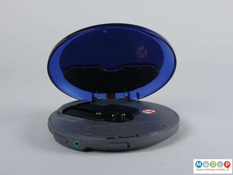 Side view of a CD player showing the playing surface.
