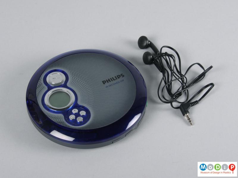 Top view of a CD player showing the headphones.