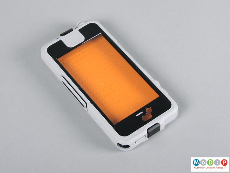 Top view of a phone case showing the clear screen cover.