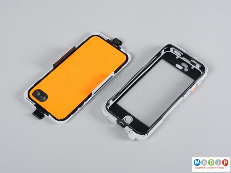 Top view of a phone case showing the inner surfaces of the two sections.