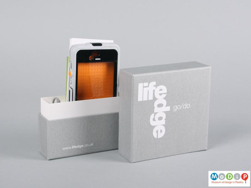 Front view of a phone case showing the packaging.