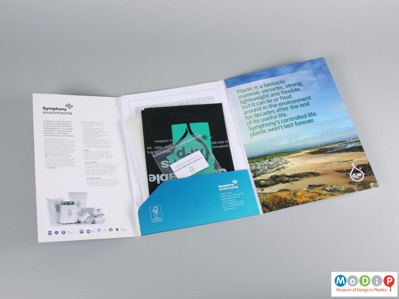 Inside view of a brochure showing the samples.