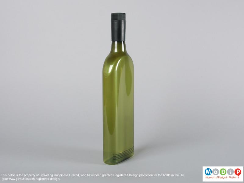 Side view of a bottle showing the slim profile.