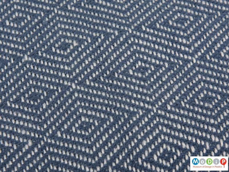 Close view of a blanket showing the woven pattern.