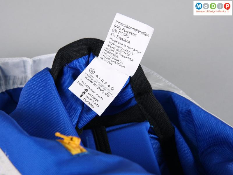 Close view of a backpack showing the label.