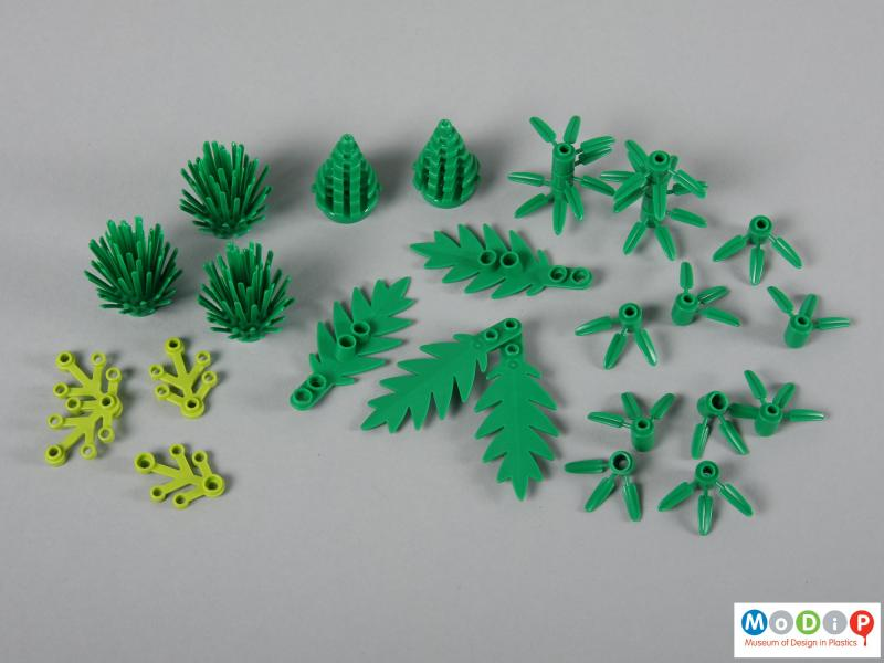 Top view of a Lego set showing all the plants.
