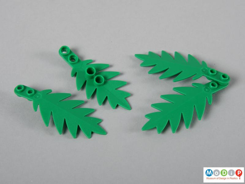 Side view of a Lego set showing the palm leaves.
