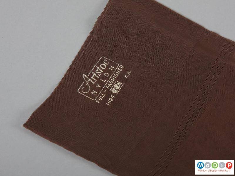 Close view of a pair of stocking showing the printed label.