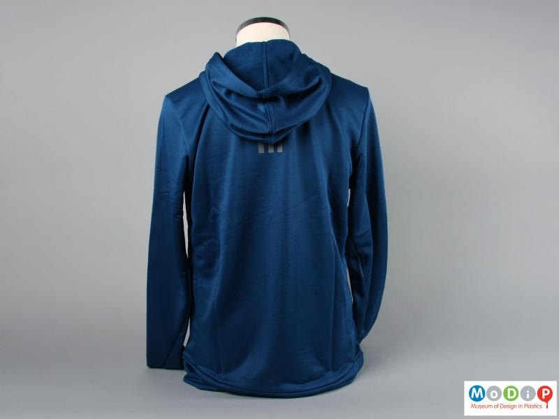 Rear view of a hoodie showing the hood.