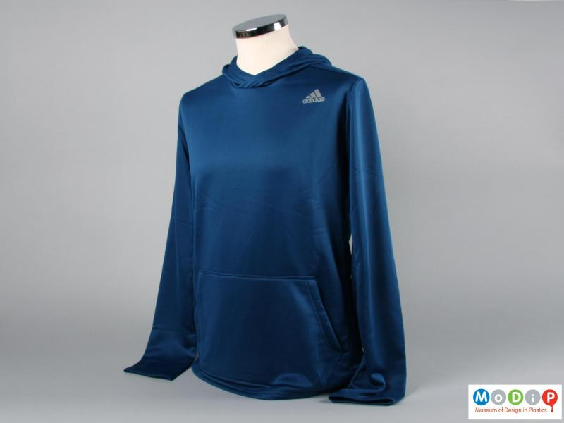 Front view of a hoodie showing the kangaroo pocket.