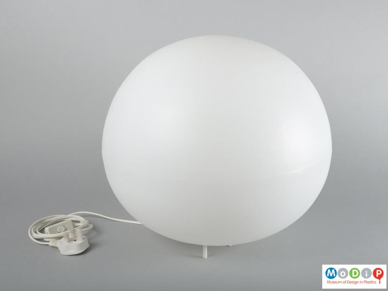 Top view of a lamp showing the rounded shape.
