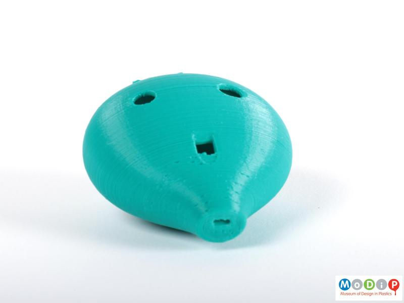 Top view of an Ocarina showing the printed layers and unfinished surface.