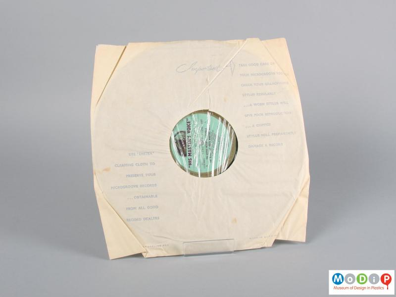Front view of a record showing the inner sleeve.
