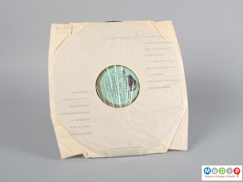 Rear view of a record showing the inner sleeve.