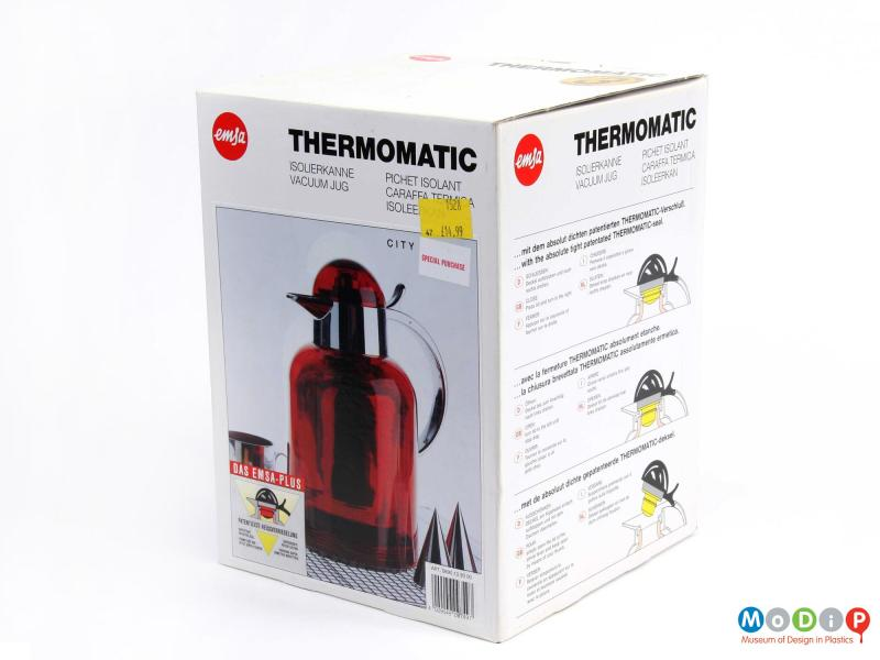 Side view of the original box for a nEmsa Thermomatic vacuum jug.