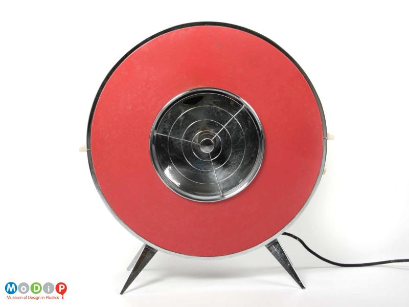 Front view of a Sofono electric heater showing the angular legs at the base and the red frontage.