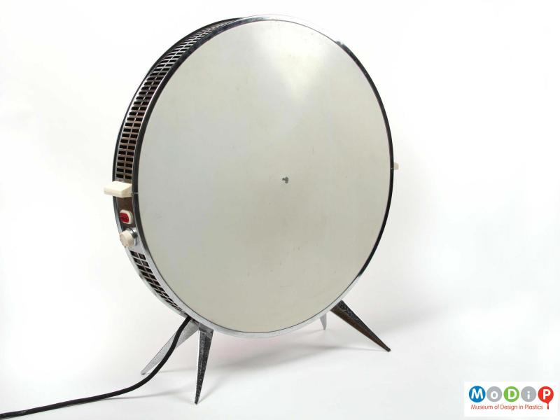 Rear view of a Sofono electric heater showing the angular legs at the base and the cream-coloured back panel.