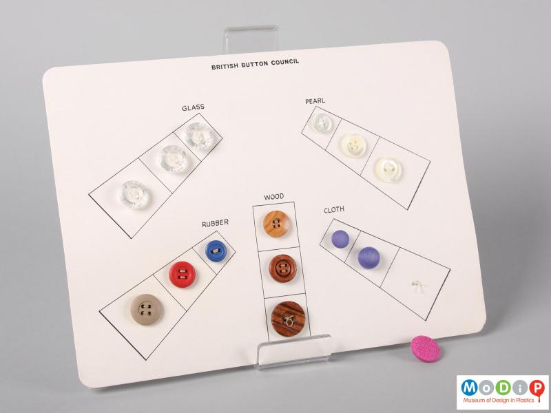 Front view of a card compiled by the British Button Council showing a selection of buttons sewn onto a display card.