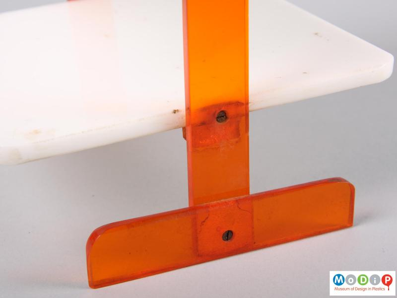 Close view of a cake stand showing the screws and adhesive.
